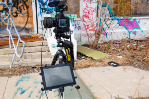 X-Grip holding tablet on tripod