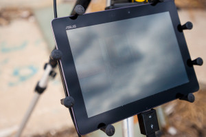 Close-up of X-Grip holding tablet