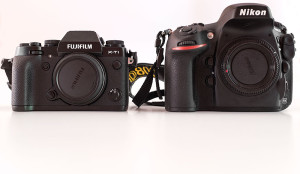 Front view of X-T1 and Nikon D800