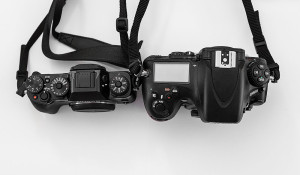 Top view of X-T1 and D800